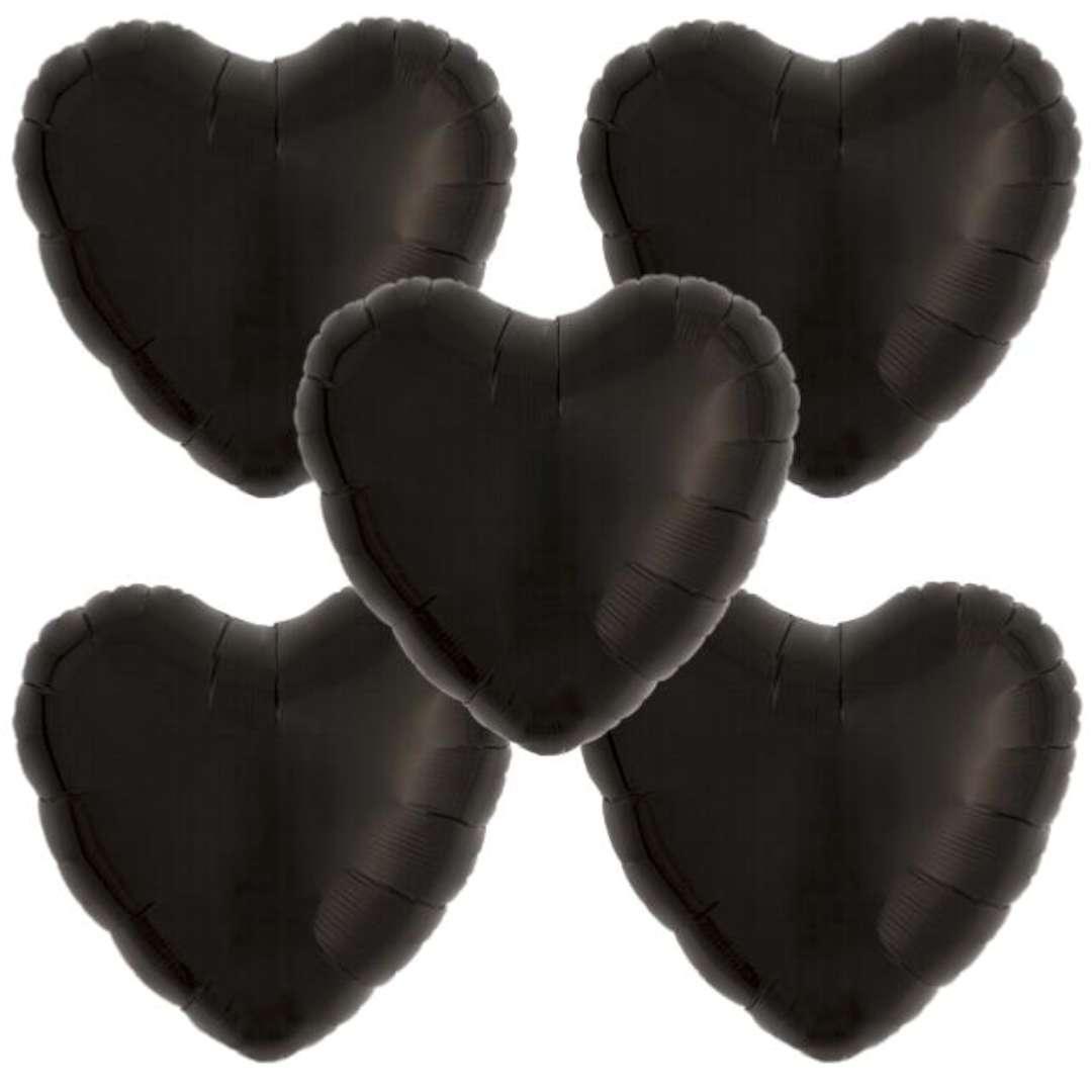 """Balon foliowy """"Serce wypukłe"""", czarny, Ibrex, 14"""", 5 szt., HRT"""