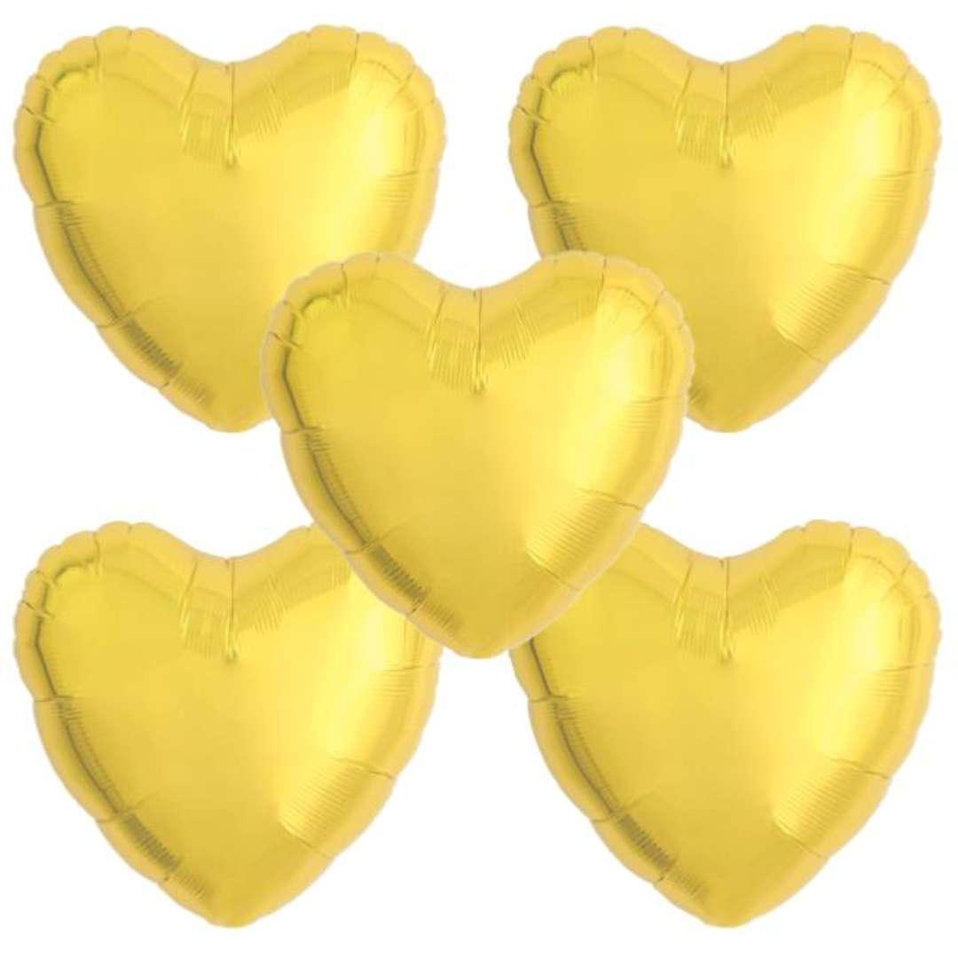"""Balon foliowy """"Serce wypukłe"""", złoty, Ibrex, 14"""", 5 szt., HRT"""