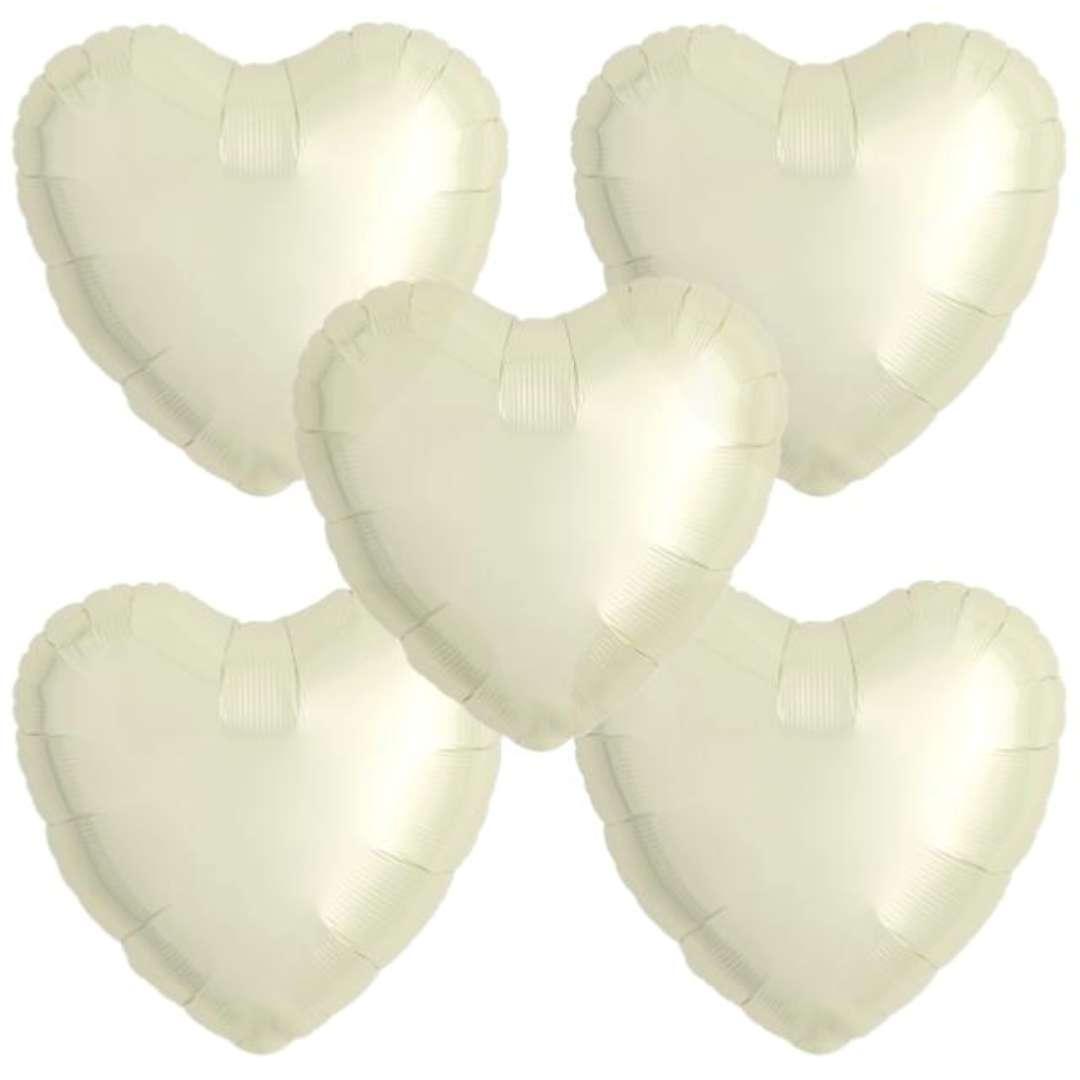 """Balon foliowy """"Serce wypukłe"""", ecru, Ibrex, 14"""", 5 szt., HRT"""