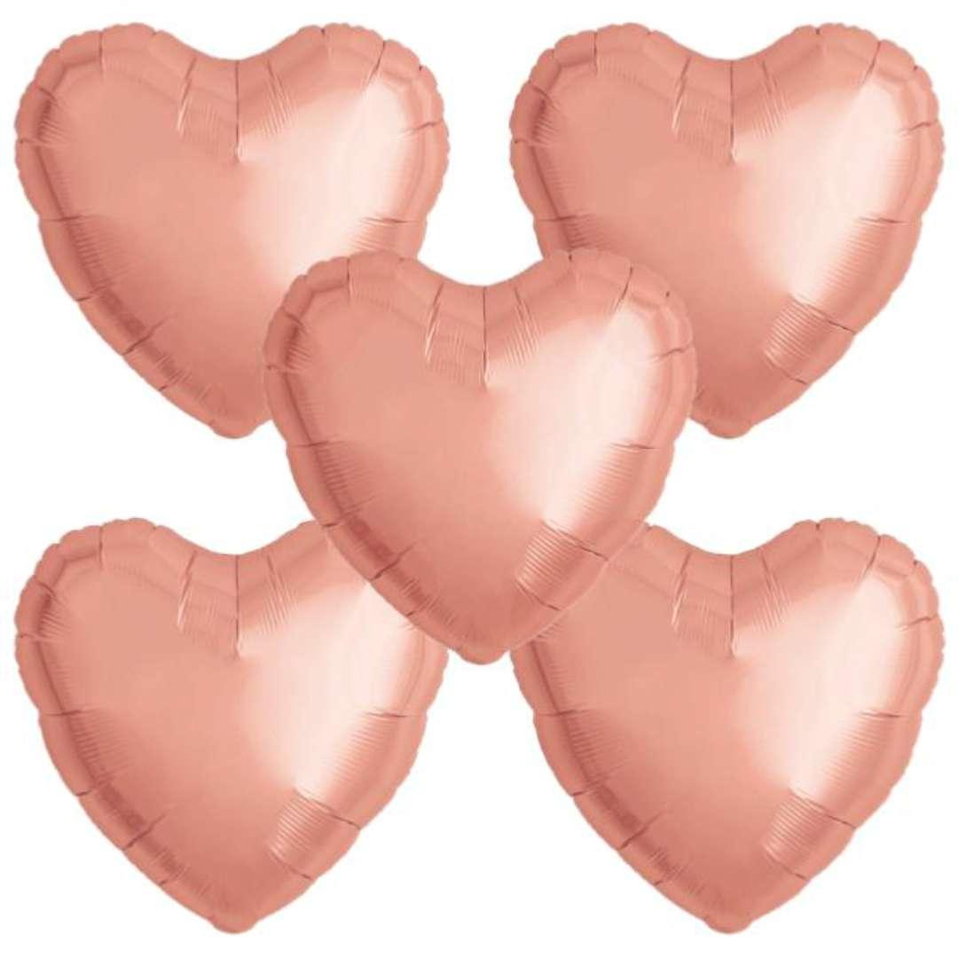 """Balon foliowy """"Serce wypukłe"""", różowe złoto, Ibrex, 14"""", 5 szt., HRT"""
