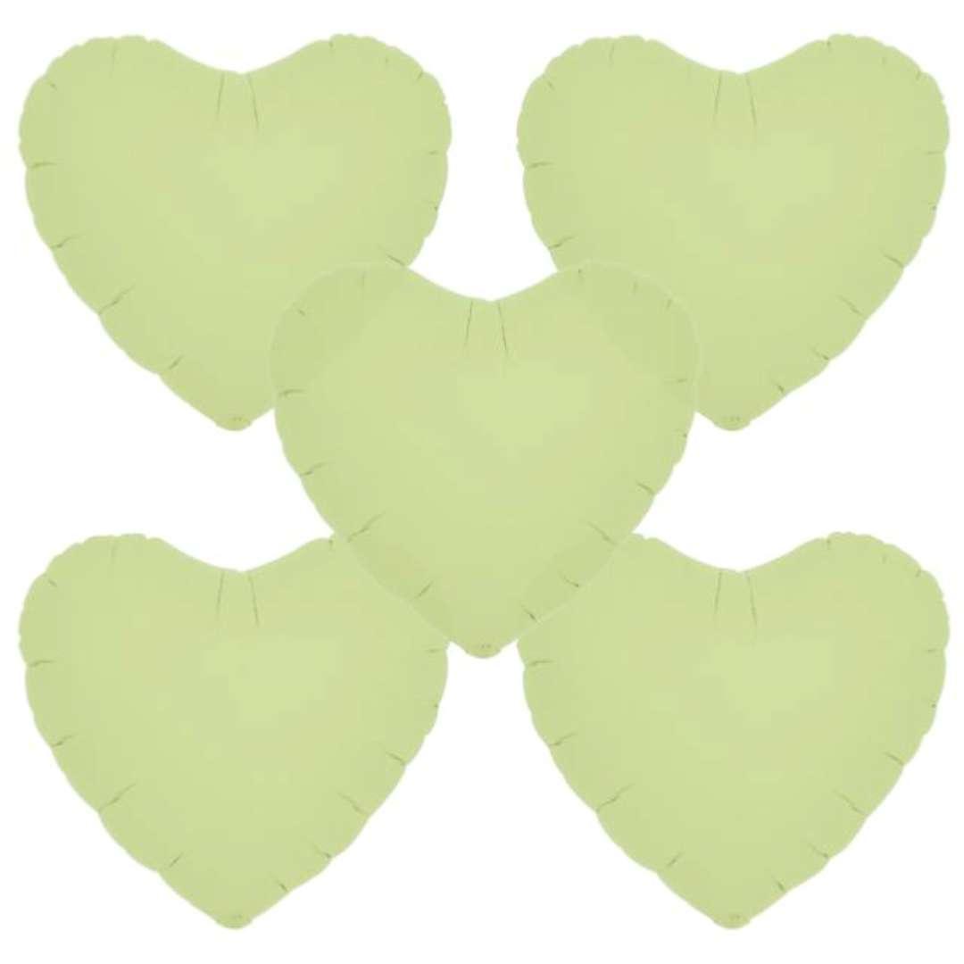 """Balon foliowy """"Serce wypukłe"""", zielony, Ibrex, 14"""", 5 szt., HRT"""