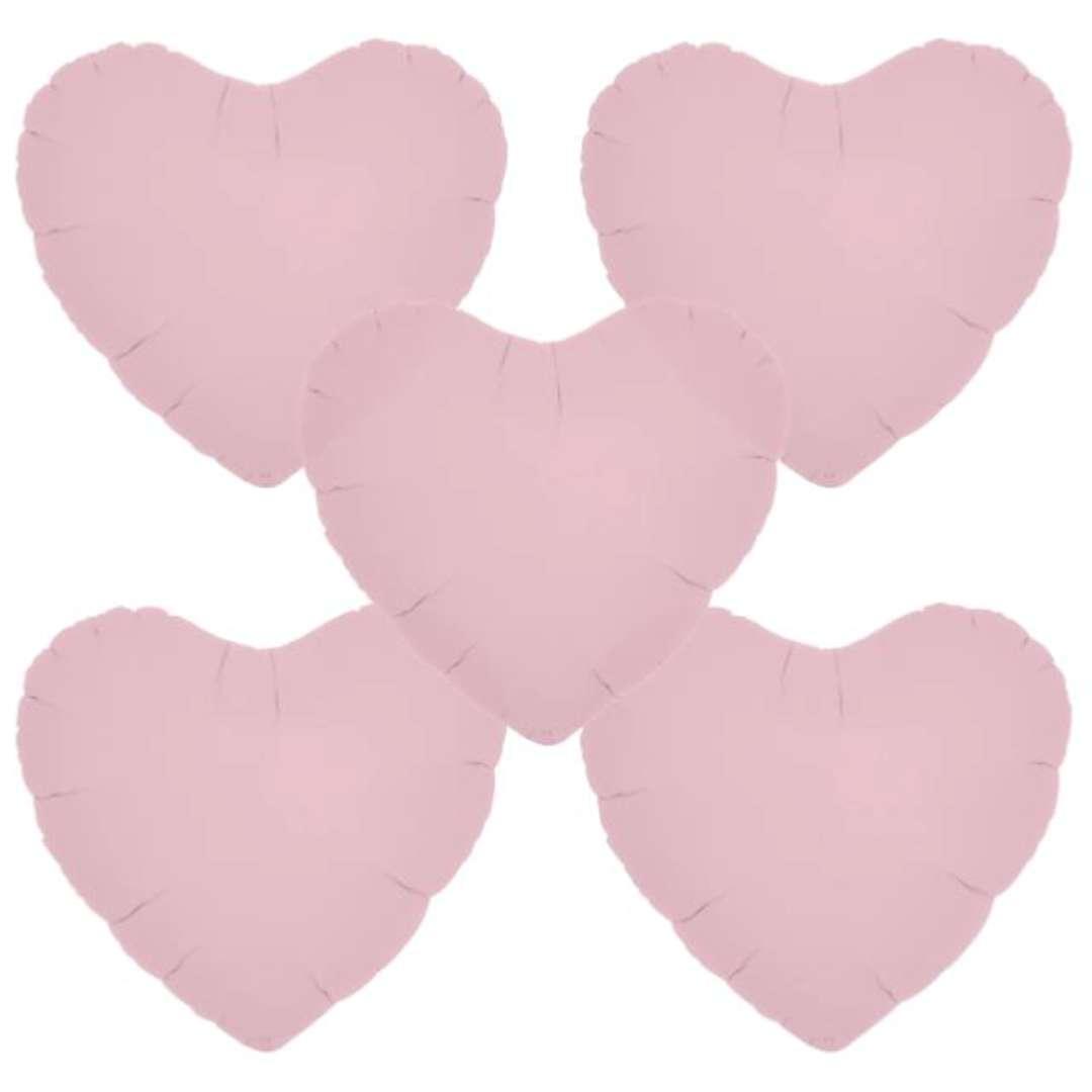 """Balon foliowy """"Serce wypukłe"""", różowy, Ibrex, 14"""", 5 szt., HRT"""