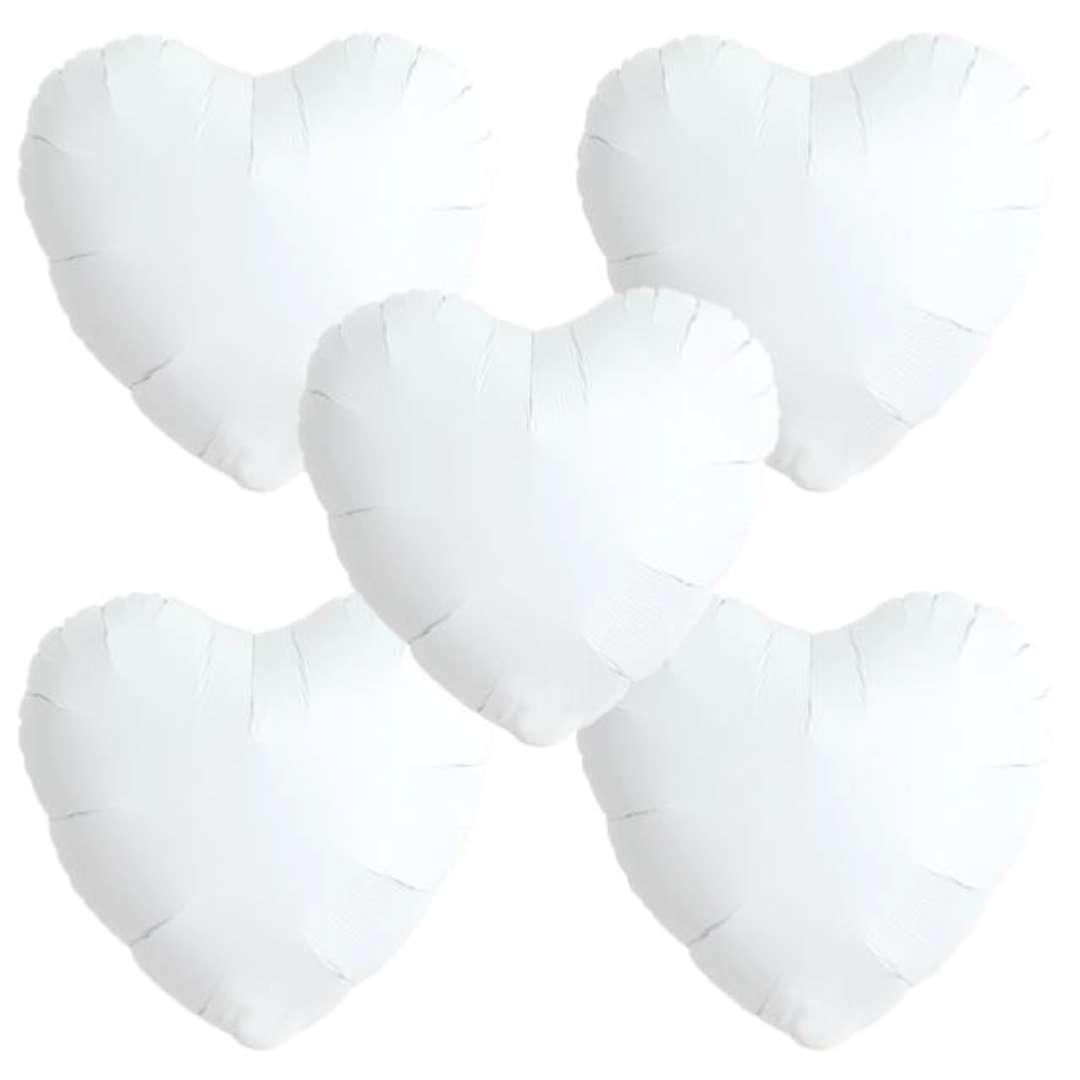 "Balon foliowy ""Serce wypukłe"", biały, Ibrex, 14"", 5 szt., HRT"