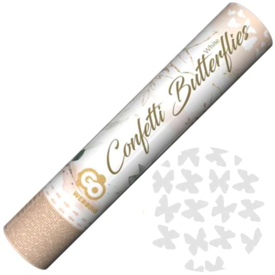 """Tuba strzelająca konfetti """"Motyle białe"""", Godan, 30 cm"""
