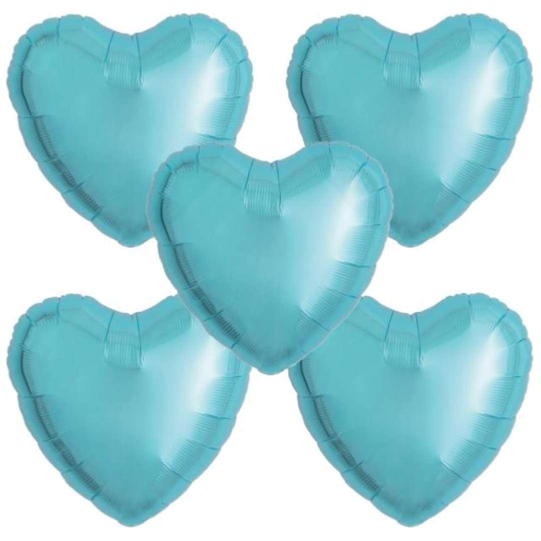 """Balon foliowy """"Serce wypukłe"""", jasnoniebieski, Ibrex, 18"""", 5 szt., HRT"""