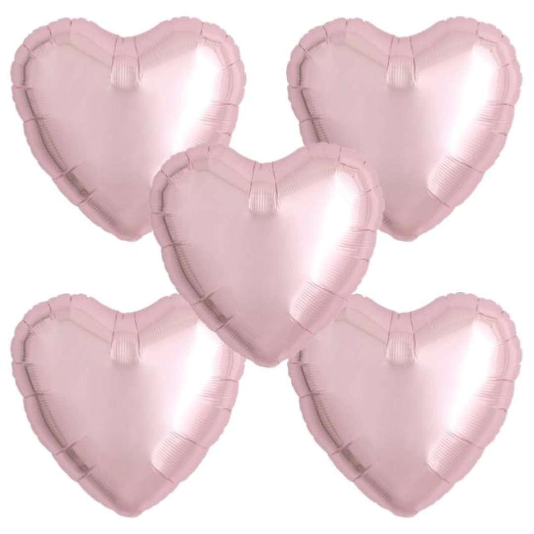 """Balon foliowy """"Serce wypukłe"""", jasnoróżowy, Ibrex, 18"""", 5 szt., HRT"""