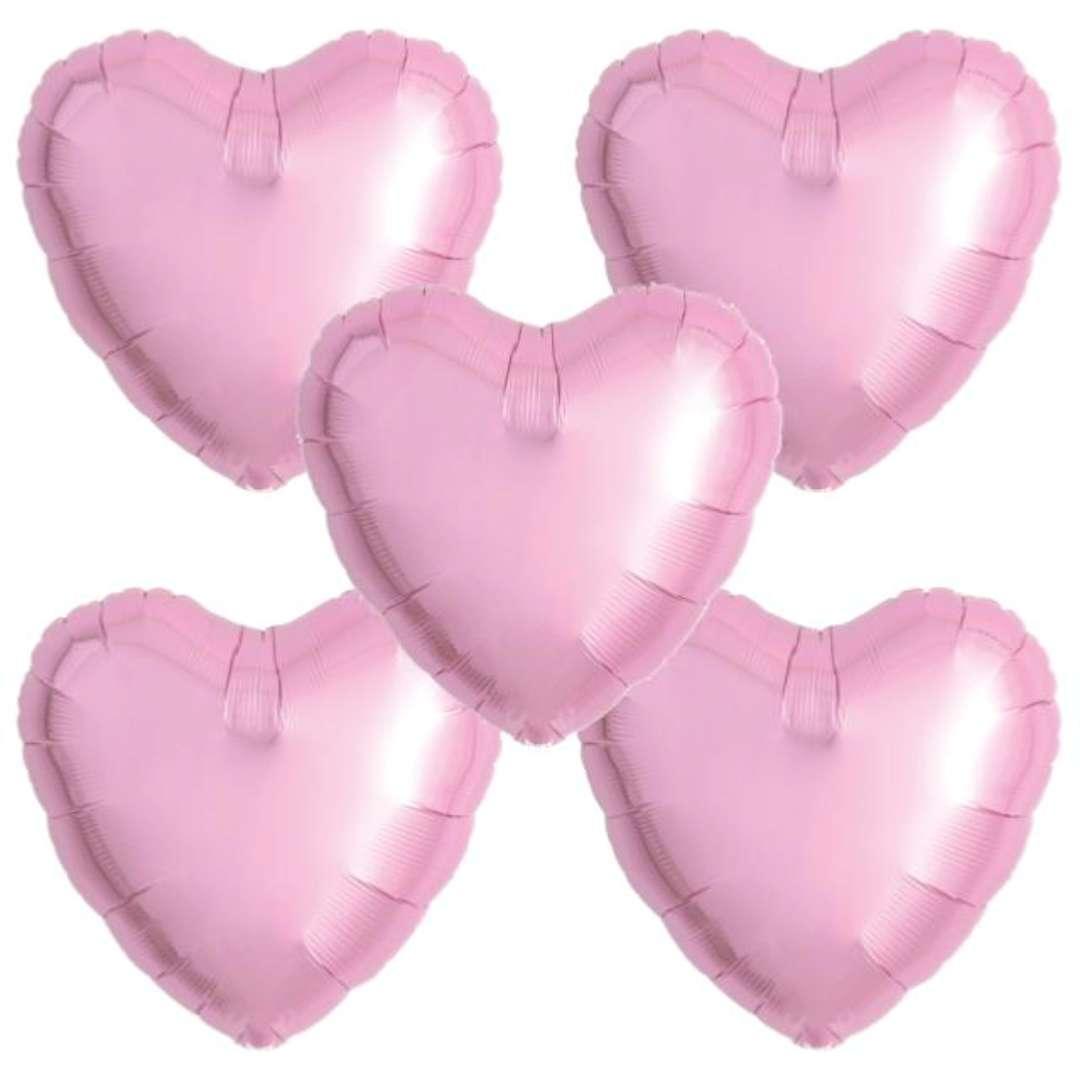 """Balon foliowy """"Serce wypukłe"""", różowy, Ibrex, 18"""", 5 szt., HRT"""