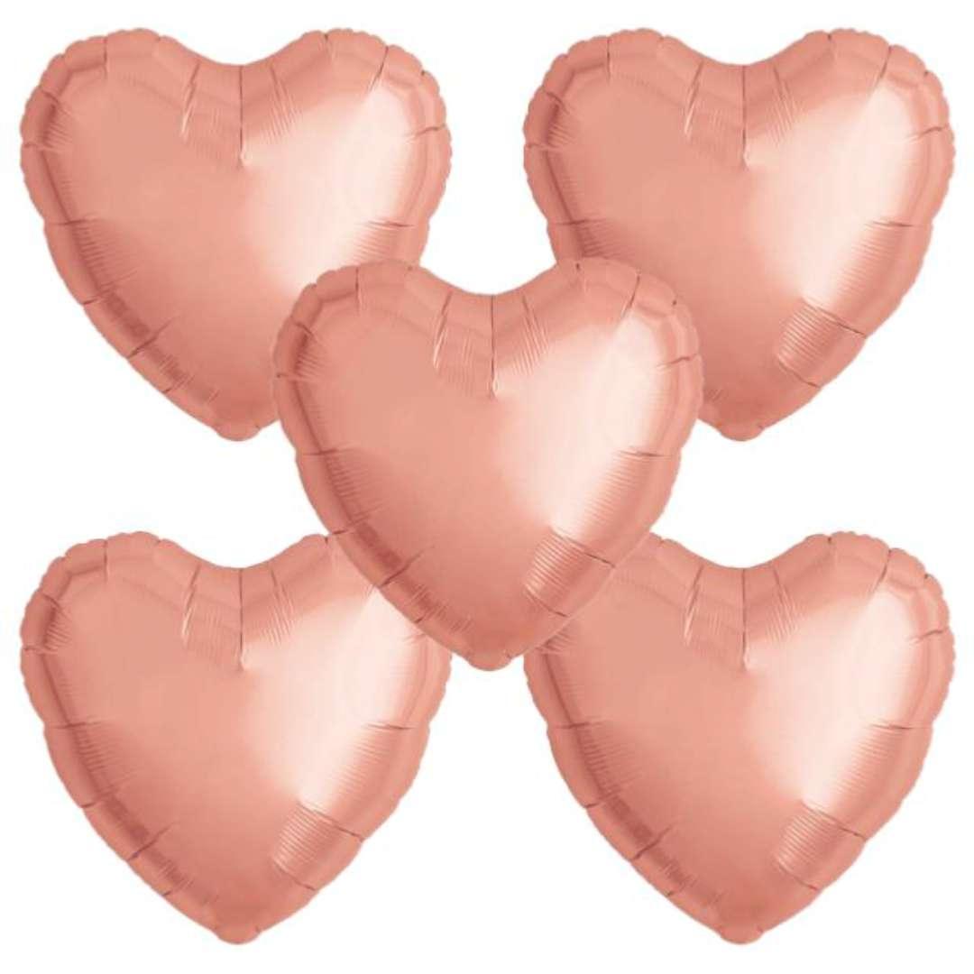 """Balon foliowy """"Serce wypukłe"""", różowe złoto, Ibrex, 18"""", 5 szt., HRT"""