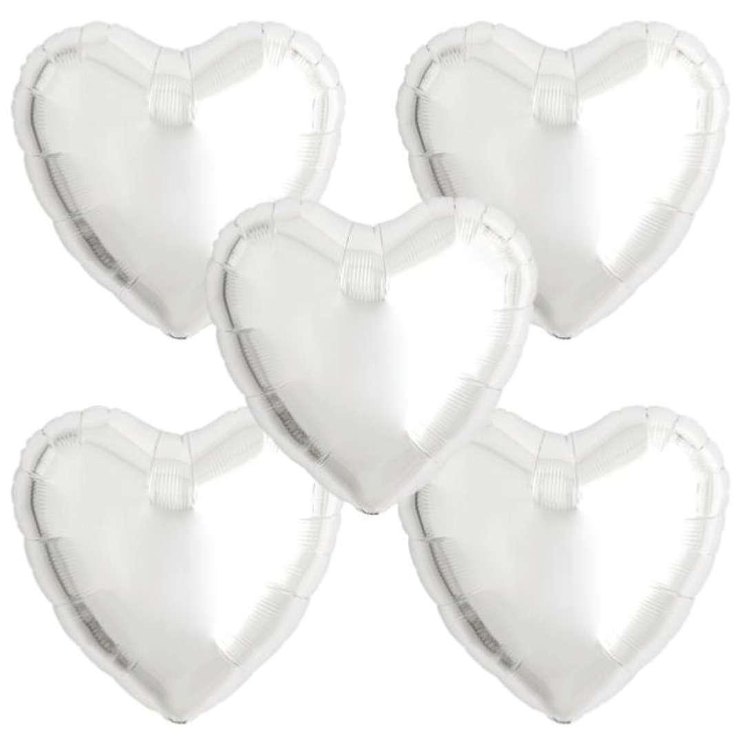 """Balon foliowy """"Serce wypukłe"""", srebrny, Ibrex, 18"""", 5 szt., HRT"""