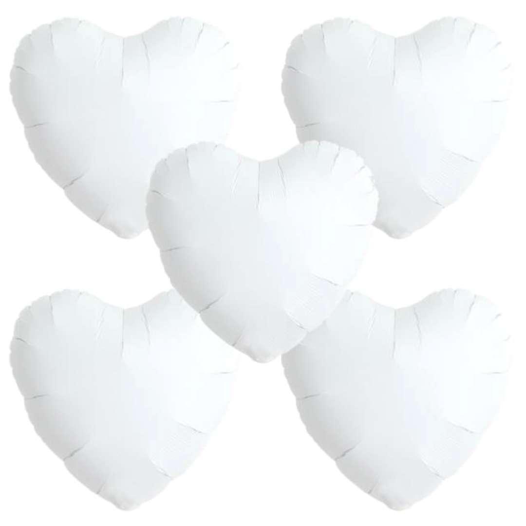 "Balon foliowy ""Serce wypukłe"", biały, Ibrex, 18"", 5 szt., HRT"