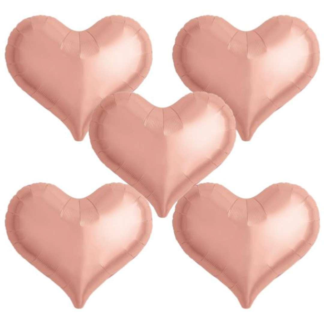 Balon foliowy Serce wklęsłe różowe złoto Ibrex 14 5 szt. HRT