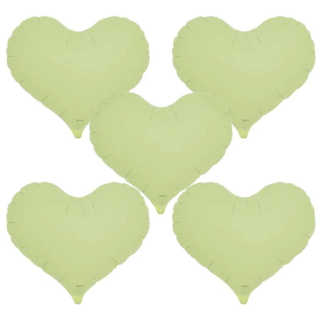 Balon foliowy Serce wklęsłe zielony Ibrex 14 5 szt. HRT