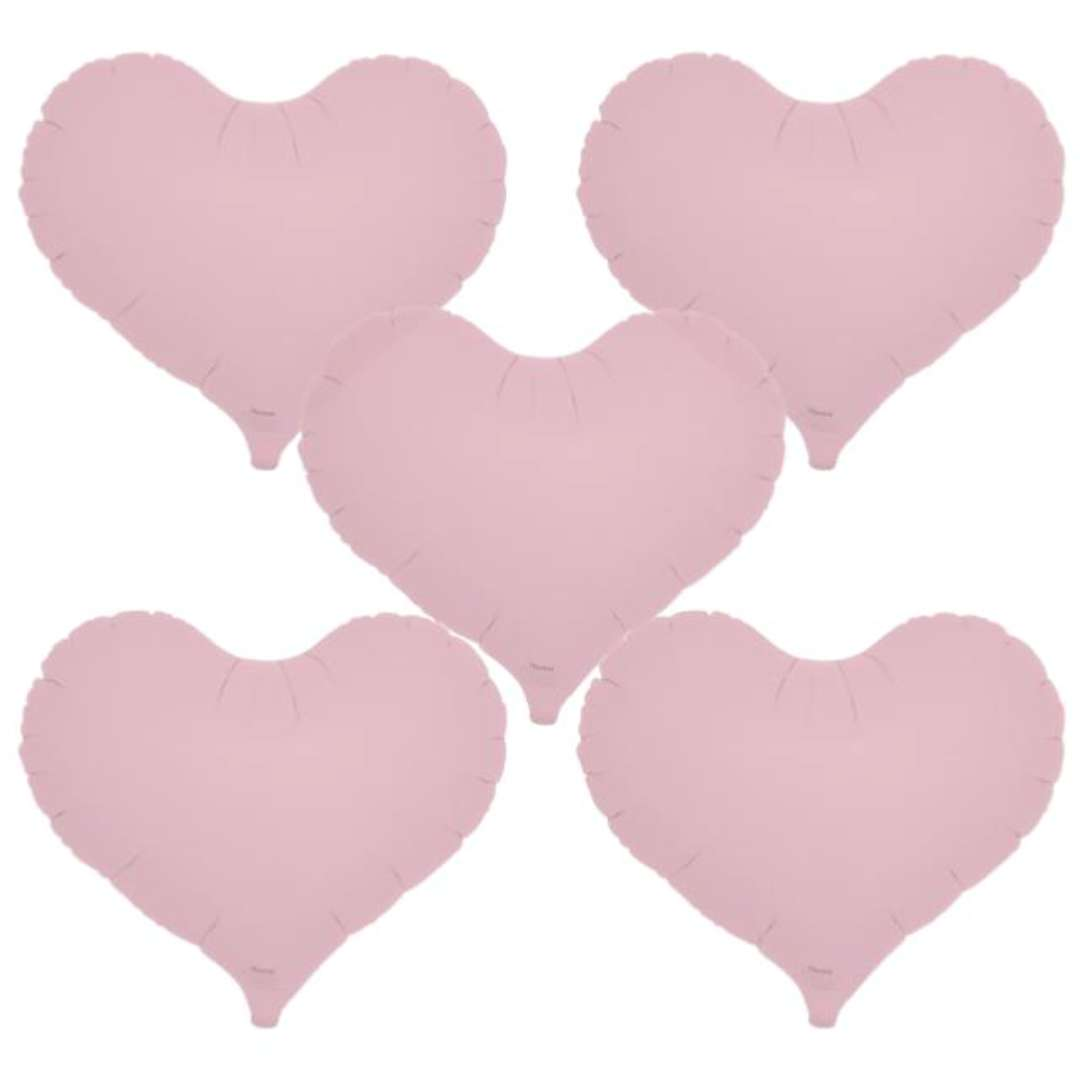 "Balon foliowy ""Serce wklęsłe"", różowy, Ibrex, 14"", 5 szt., HRT"