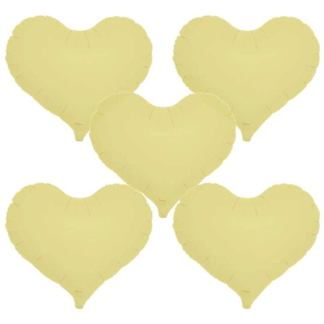 """Balon foliowy """"Serce wklęsłe"""", żółty, Ibrex, 14"""", 5 szt., HRT"""