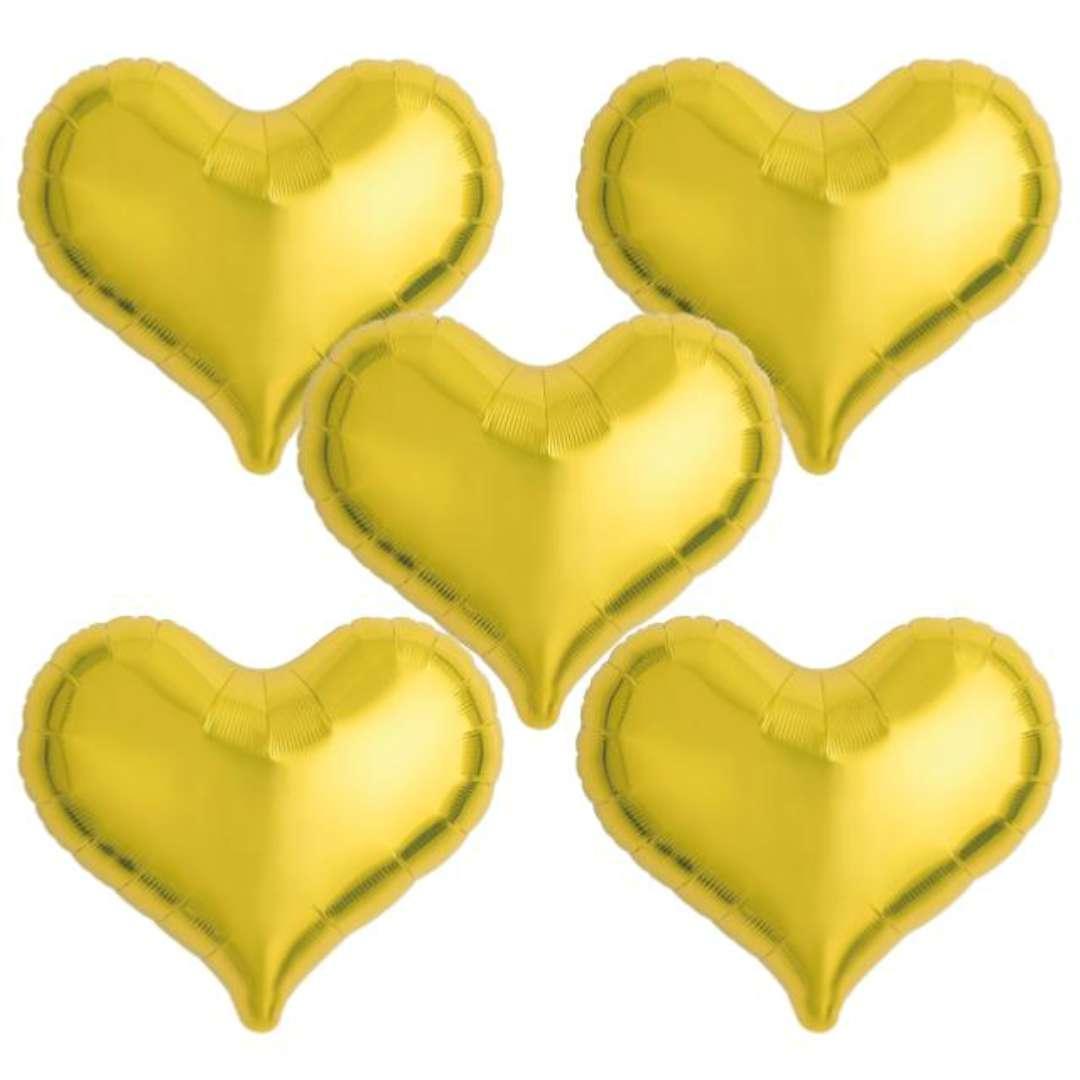"""Balon foliowy """"Serce wklęsłe"""", złoty, Ibrex, 18"""", 5 szt., HRT"""
