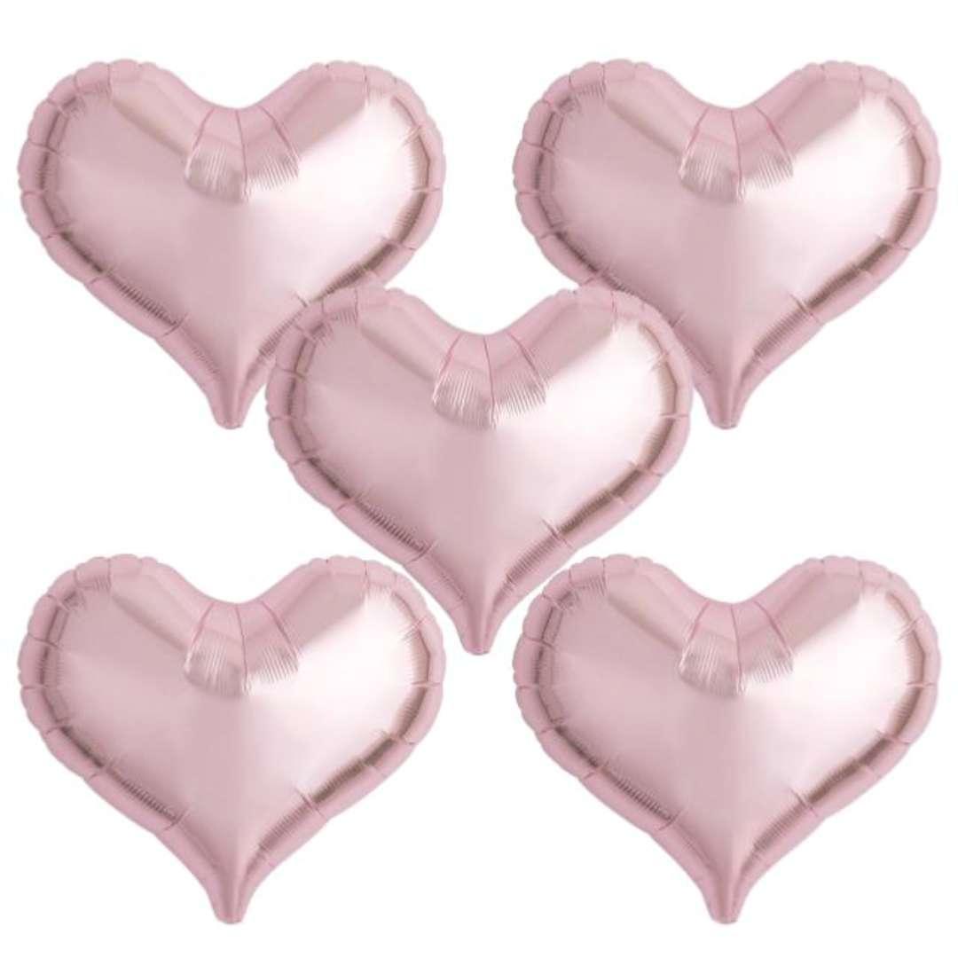"""Balon foliowy """"Serce wklęsłe"""", jasnoróżowy, Ibrex, 18"""", 5 szt., HRT"""