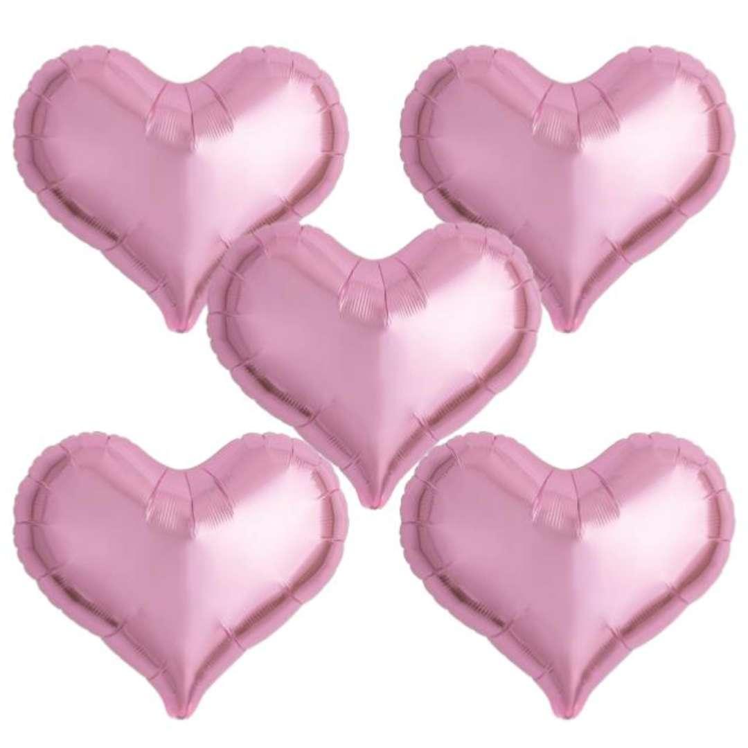 "Balon foliowy ""Serce wklęsłe"", różowy, Ibrex, 18"", 5 szt., HRT"