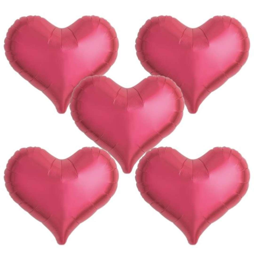 """Balon foliowy """"Serce wklęsłe"""", czerwony, Ibrex, 18"""", 5 szt., HRT"""