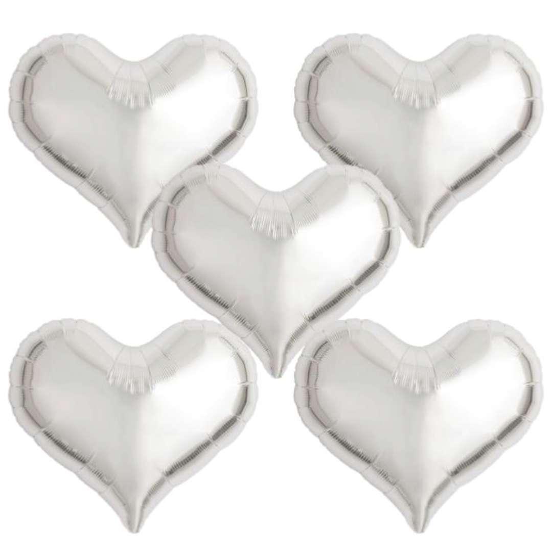 Balon foliowy Serce wklęsłe srebrny Ibrex 18 5 szt. HRT
