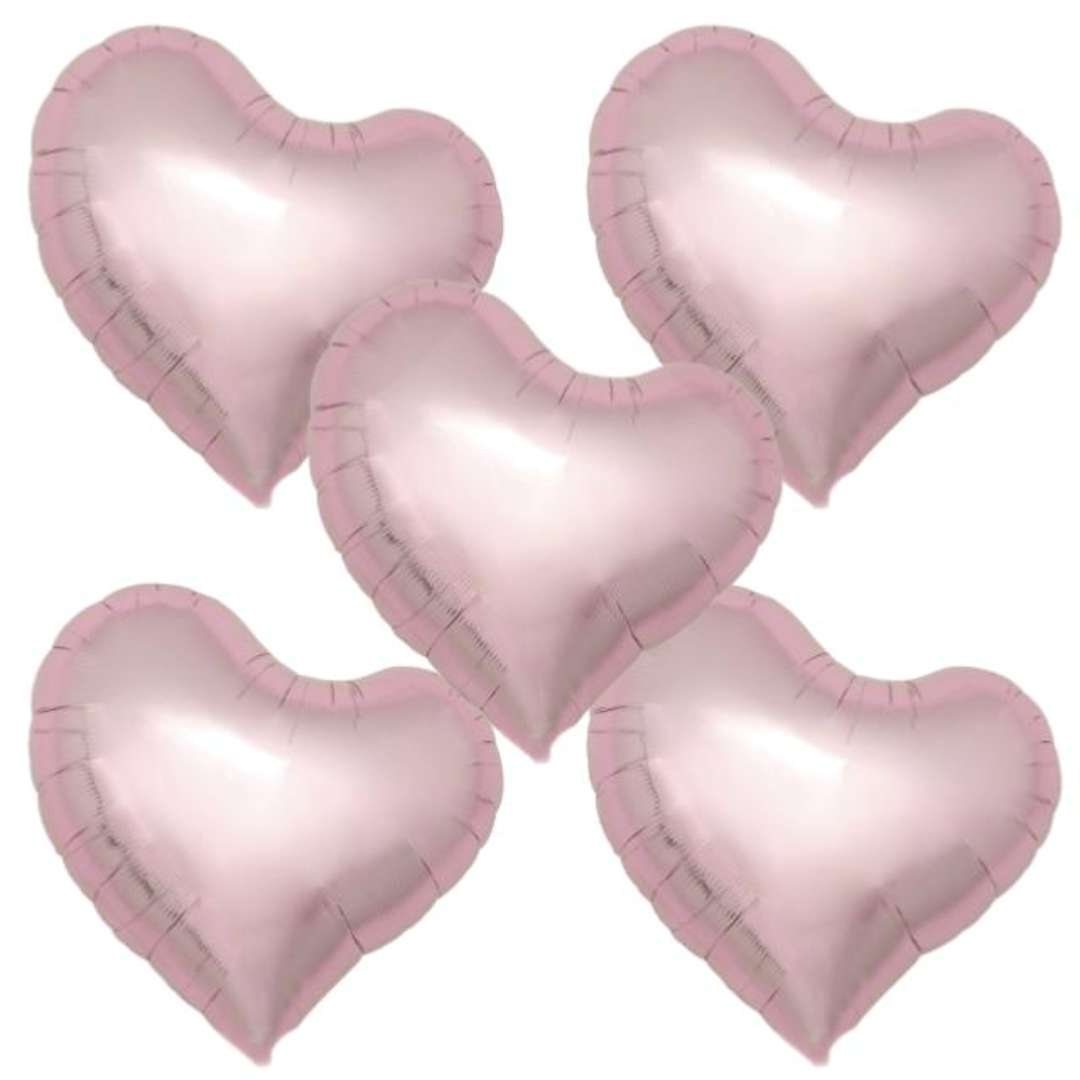 """Balon foliowy """"Serce fikuśne"""", jasnoróżowy, Ibrex, 18"""", 5 szt., HRT"""