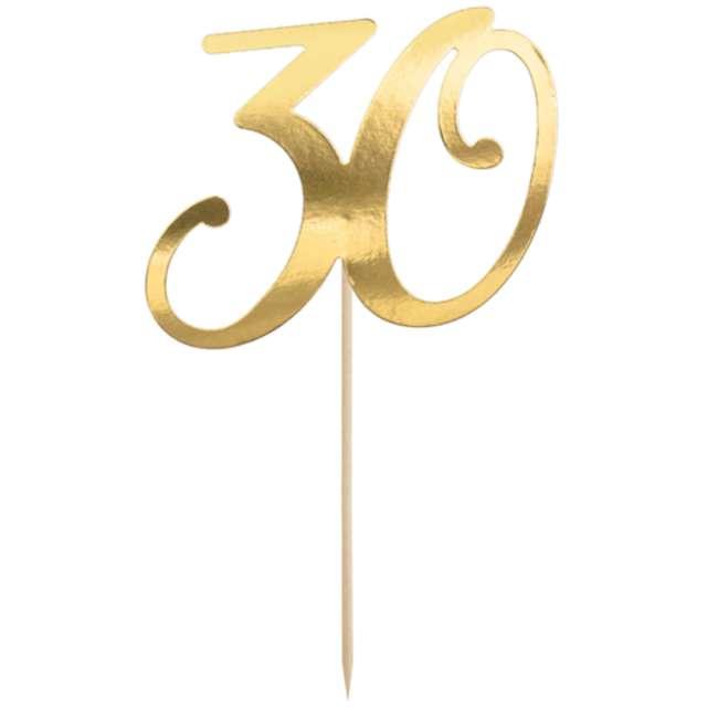 """Piker """"Liczba 30"""", złoty, PartyDeco, 20,5 cm"""