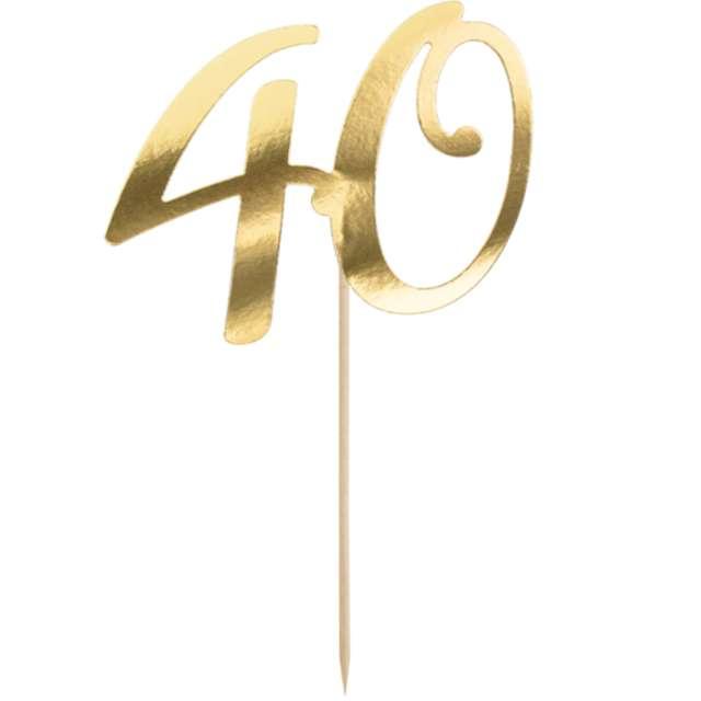 """Piker """"Liczba 40"""", złoty, PartyDeco, 20,5 cm"""