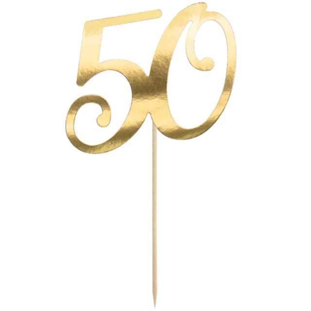 """Piker """"Liczba 50"""", złoty, PartyDeco, 20,5 cm"""