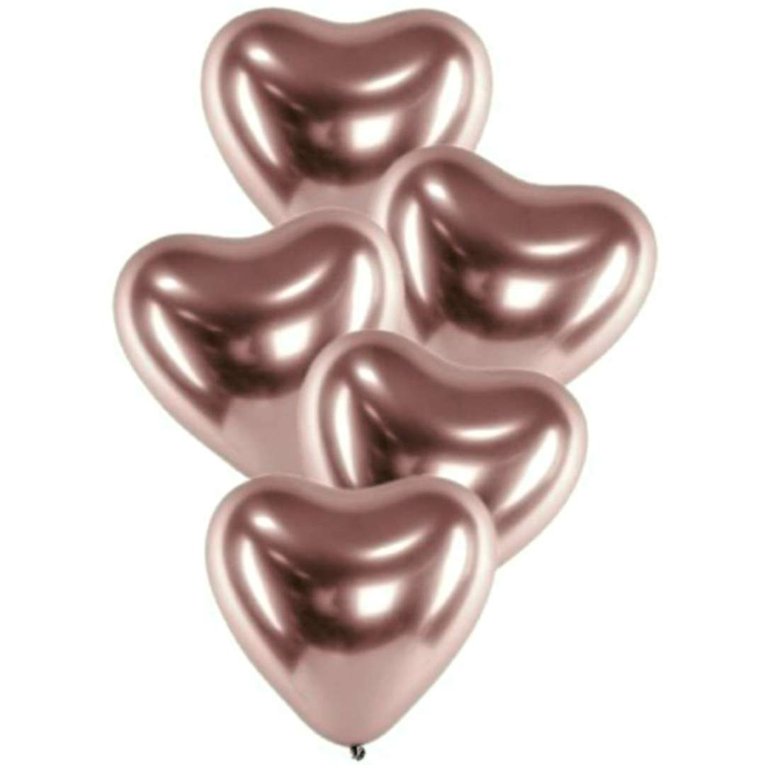 Balony Serca Shiny różowe złoto Gemar 12 25 szt.