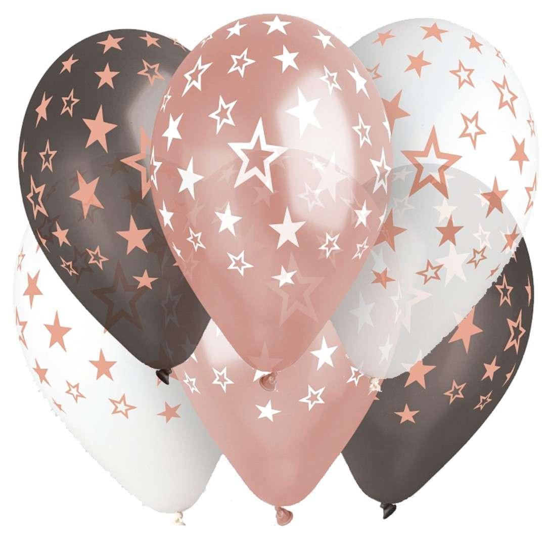Balony Gwiazdki różowy mix Gemar 13 6 szt