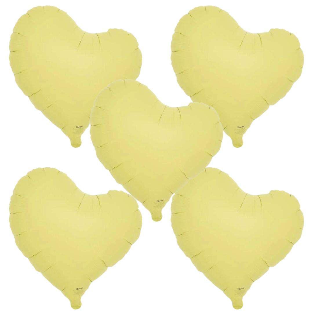 "Balon foliowy ""Serce fikuśne"", żółty, Ibrex, 14"", 5 szt., HRT"