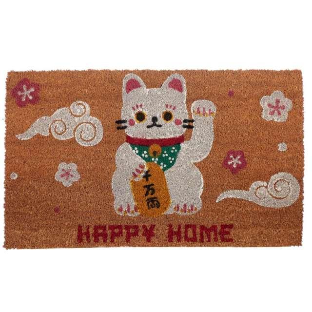 """Wycieraczka """"Kot Szczęścia"""", włókno kokosowe, Puckator, 72 x 45 cm"""
