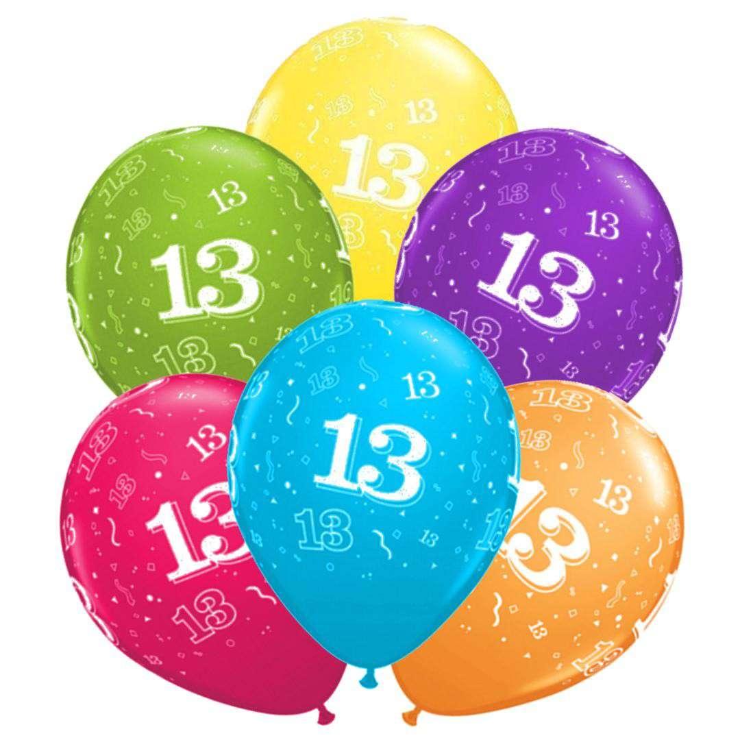 """Balony """"13 urodziny"""", mix, Qualatex, 11"""", 6 szt."""