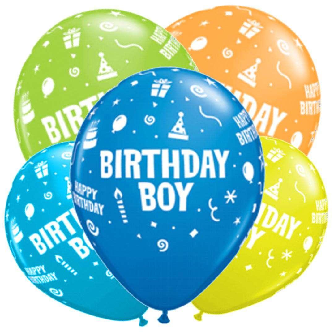 "Balony ""Birthday boy"", mix, Qualatex, 11"", 25 szt."