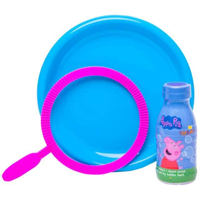 """Zestaw do baniek mydlanych """"Świnka PEPPA 3 części"""", TUBAN, 250 ml"""