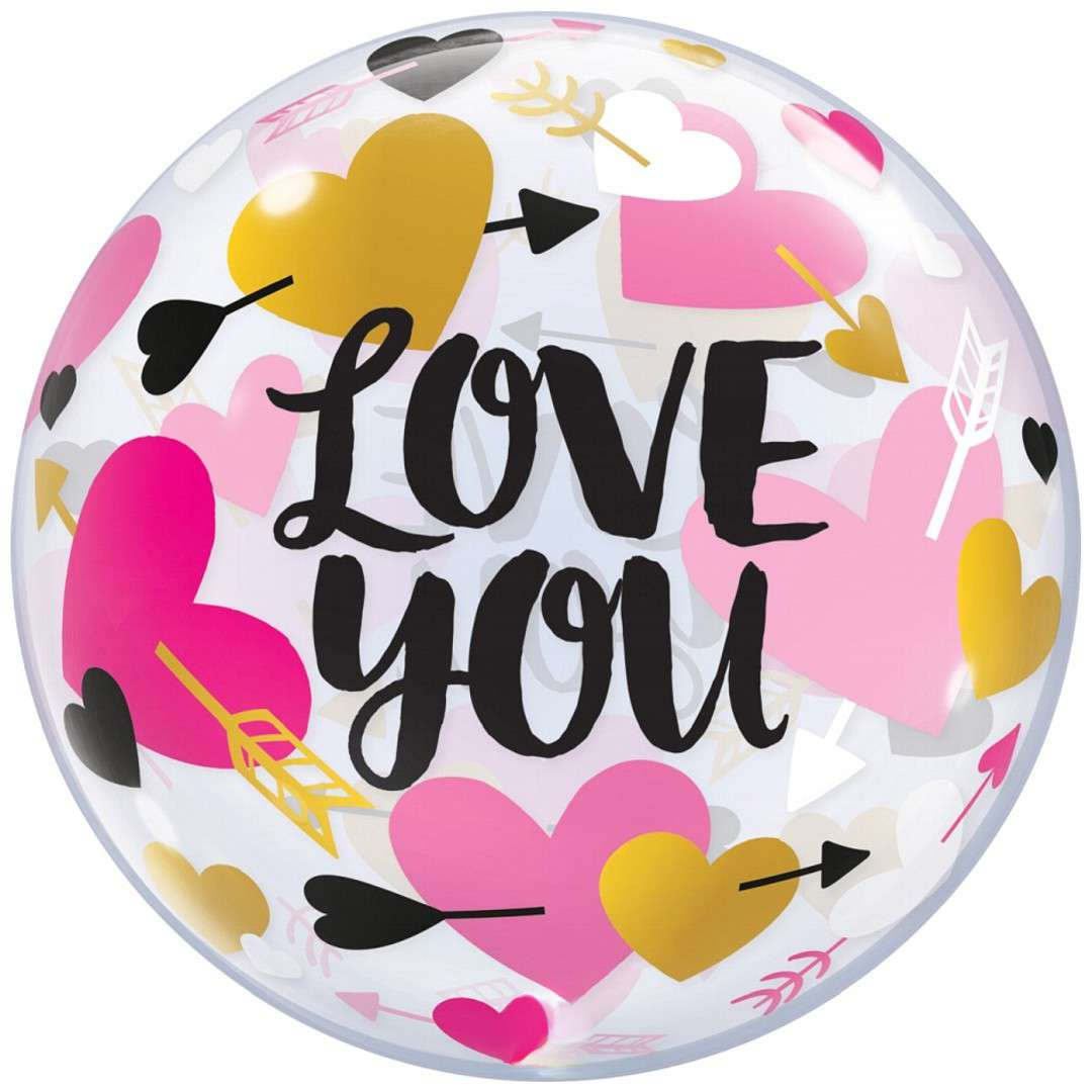 "Balon foliowy ""Bubble - Love you"", Qualatex, 22"", ORB"