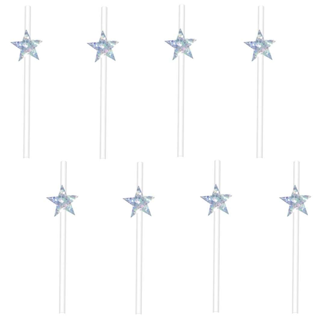 """Słomki """"Gwiazdki Holograficzne"""", białe, 20 cm, PartyPal, 8 szt"""