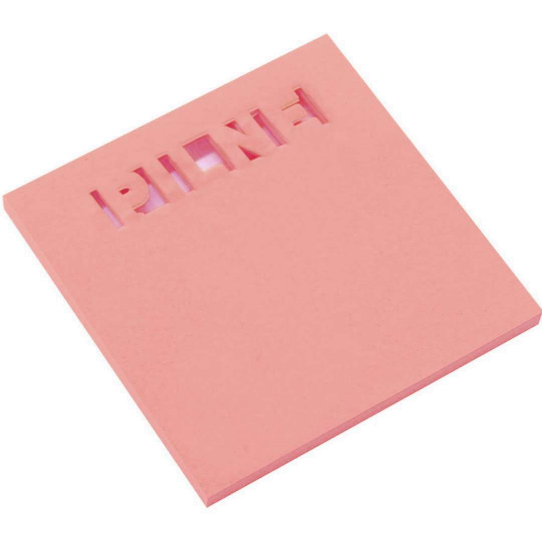 """Karteczki samoprzylepne """"Z wycięciem - PILNE"""", różowe D.RECT, 75 x 75 mm, 50 kartek"""