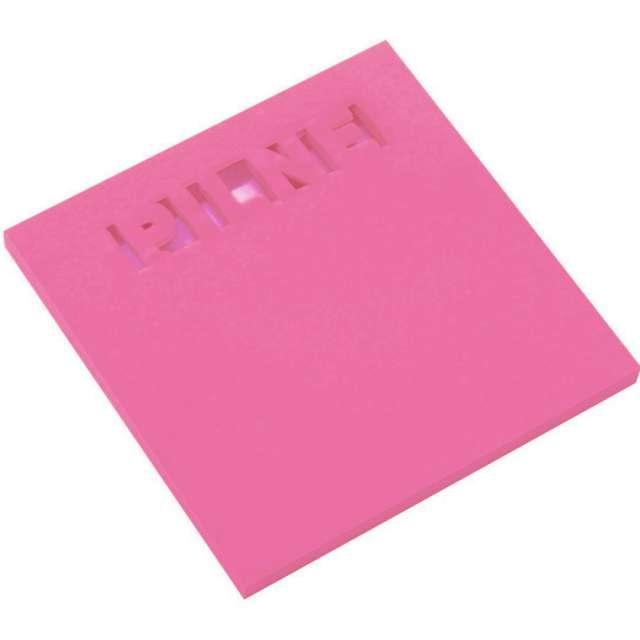 """Karteczki samoprzylepne """"Z wycięciem - PILNE"""", różowe, D.RECT, 75 x 75 mm, 50 kartek"""
