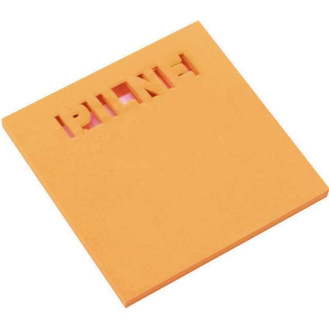 """Karteczki samoprzylepne """"Z wycięciem - PILNE"""", pomarańczowe, D.RECT, 75 x 75 mm, 50 kartek"""