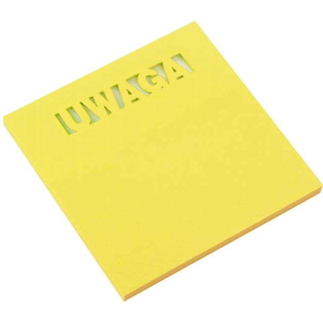 """Karteczki samoprzylepne """"Z wycięciem - UWAGA"""", żółty, D.RECT, 75 x 75 mm, 50 kartek"""