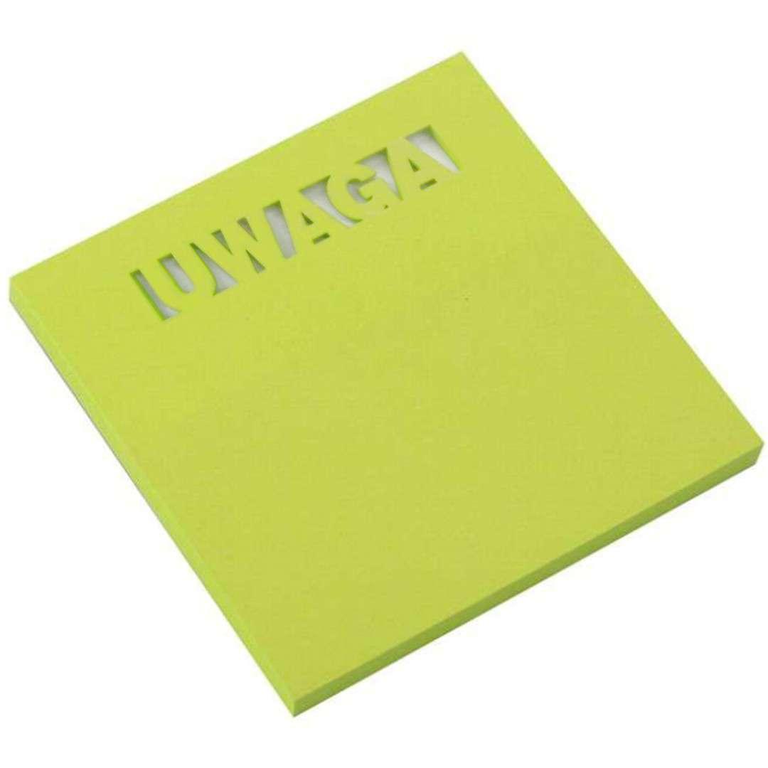 Karteczki samoprzylepne Z wycięciem - UWAGA zielony D.RECT 75 x 75 mm 50 kartek