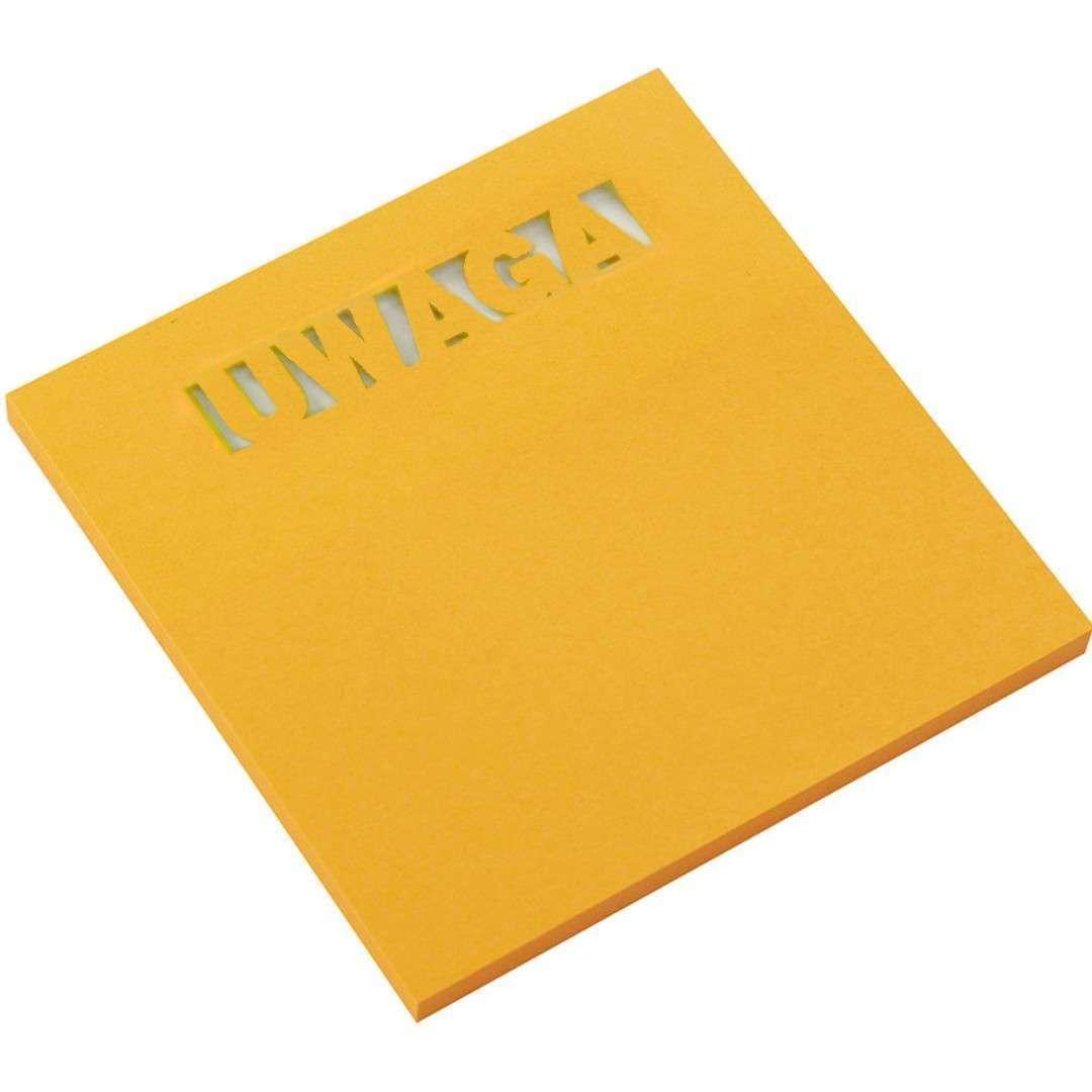 """Karteczki samoprzylepne """"Z wycięciem - UWAGA"""", pomarańczowe, D.RECT, 75 x 75 mm, 50 kartek"""