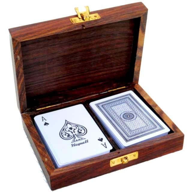 """Karty do gry """"Drewniane pudełko i dwie talie"""", Kemiś"""