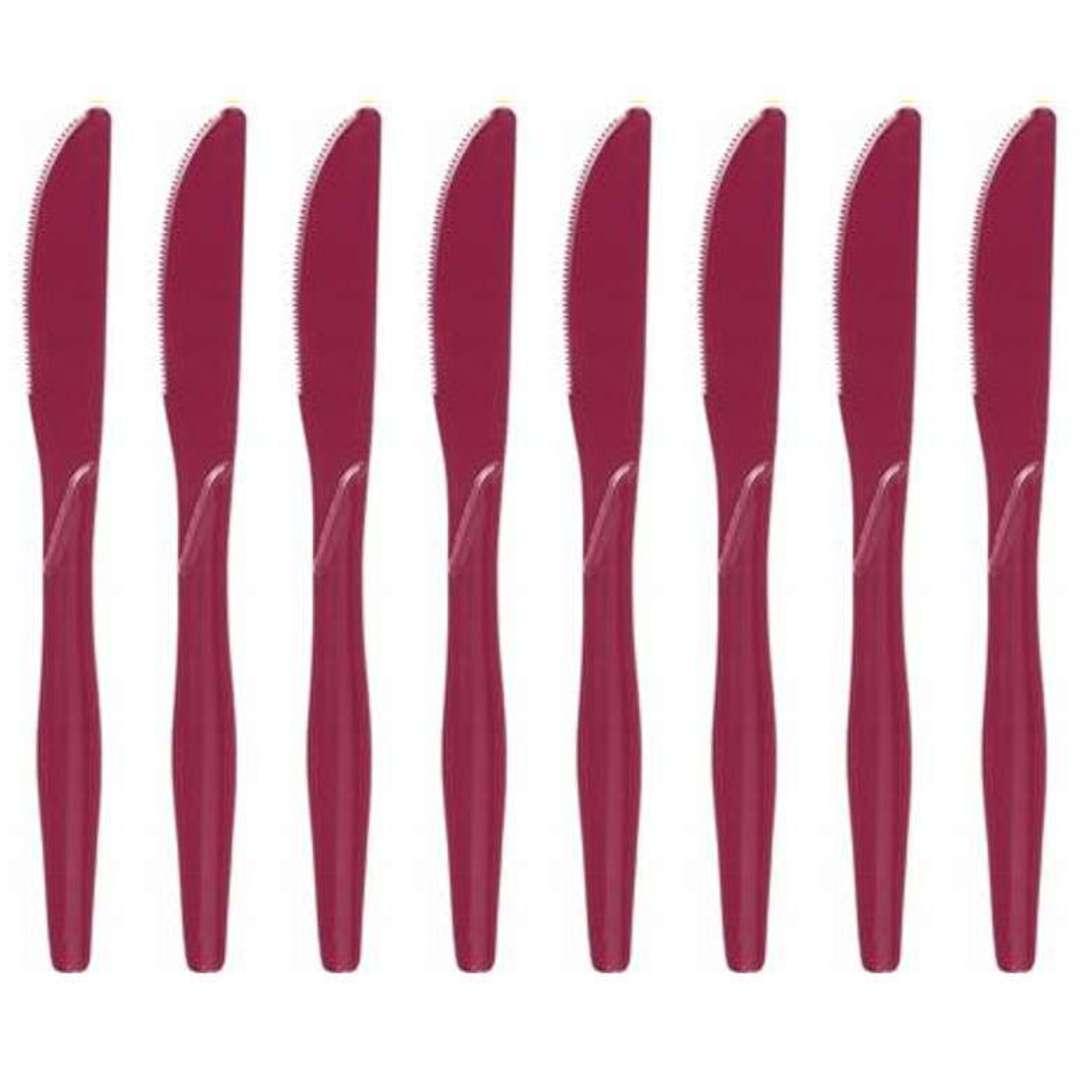 "Noże plastikowe ""Classic"", Godan, bordowe, 16,5 cm, 8 szt"