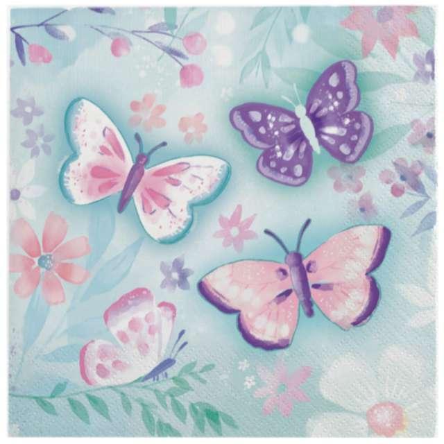 "Serwetki ""Barwne Motyle"", Amscan, 33 cm, 16 szt"
