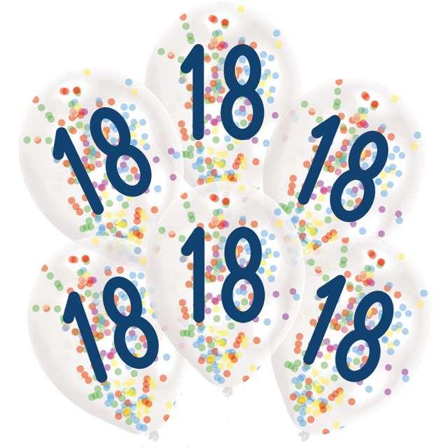 """Balony """"18 urodziny z konfetti"""", transparentne, Amscan, 11"""", 6 szt"""