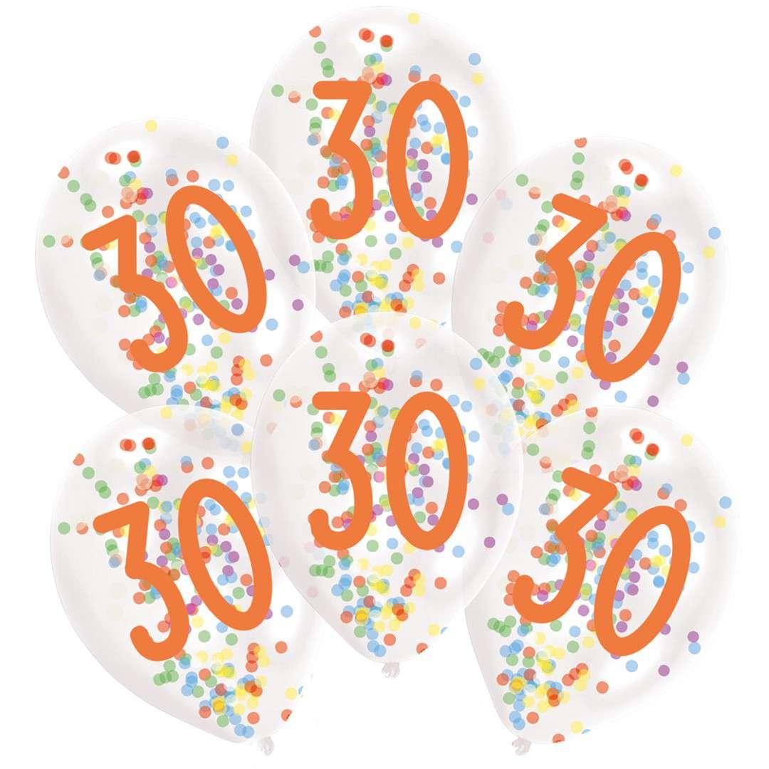 """Balony """"30 urodziny z konfetti"""", transparentne, Amscan, 11"""", 6 szt"""