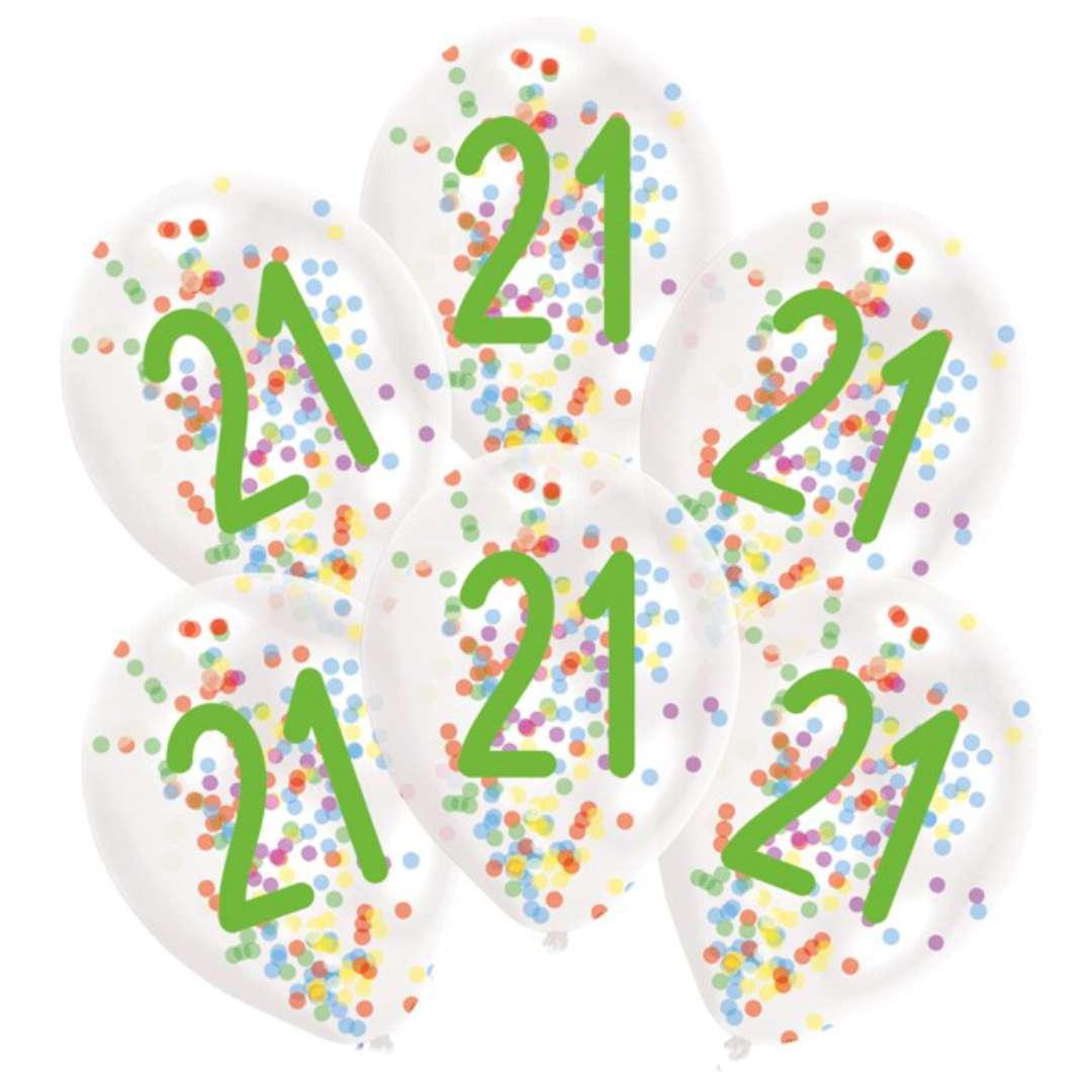 Balony 21 urodziny z konfetti transparentne Amscan 11 6 szt