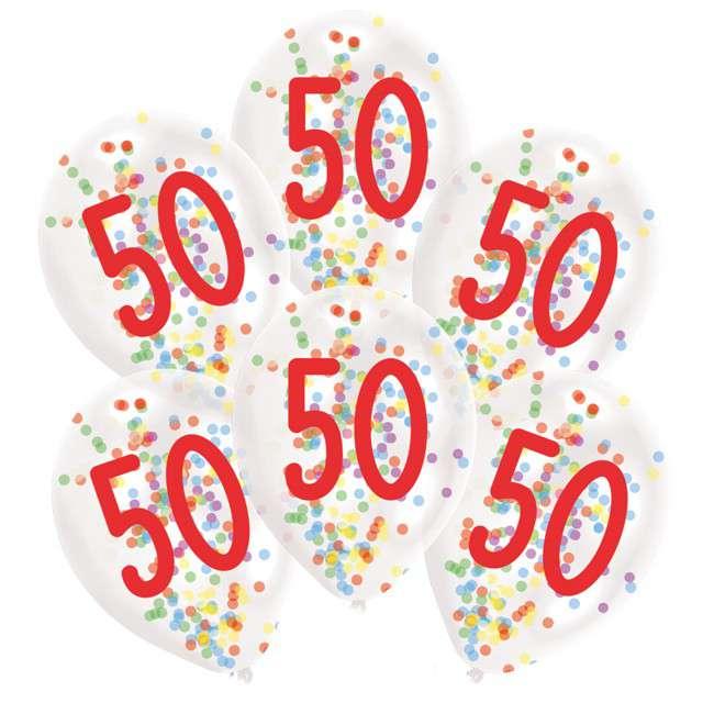 Balony 50 urodziny z konfetti transparentne Amscan 11 6 szt