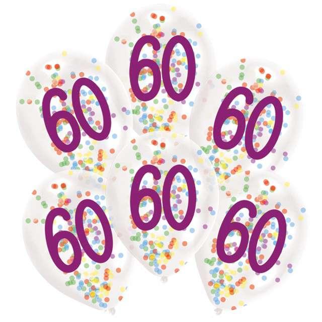 """Balony """"60 urodziny z konfetti"""", transparentne, Amscan, 11"""", 6 szt"""